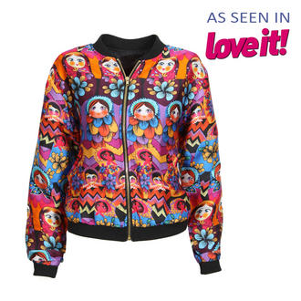 View Item Floral Russian Doll Print Bomber Jacket